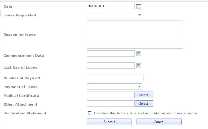 format of leave form – Example of Leave Form